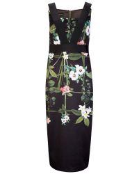 Ted Baker - Black Skater Dress In Cascading Floral Print - Lyst