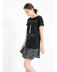 Mango - Black Nyc Linen T-Shirt - Lyst