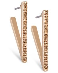 "French Connection | Metallic Gold-tone Small Pavé ""v"" Hoop Earrings 