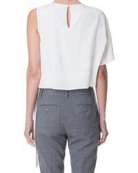 Tibi | White Silk Asymmetrical Top | Lyst