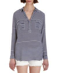 Splendid - Blue Rollsleeve Striped Shirt - Lyst