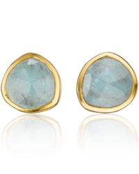 Monica Vinader - Metallic Gold Vermeil Aquamarine Stud Earrings - Lyst