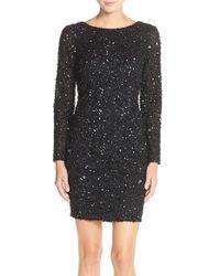 Adrianna Papell - Black Embellished Mesh Sheath Dress - Lyst