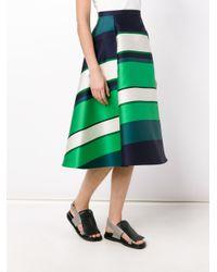 Lanvin - Green Striped Satin Midi Skirt - Lyst
