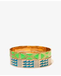 Forever 21 | Green Lacquered Southwestern Bangle Set | Lyst