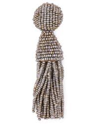 Oscar de la Renta - Metallic Bead Tassel Earrings - Lyst