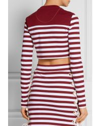 House of Holland - Multicolor - Cropped Lace-up Striped Stretch-cotton Jersey Top - Burgundy - Lyst