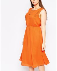 ASOS - Orange Curve Sleeveless Dress With Pleat Detail - Lyst