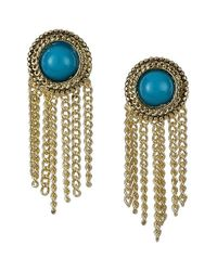 Sam Edelman | Blue Stone Fringe Earrings - Turquoise | Lyst
