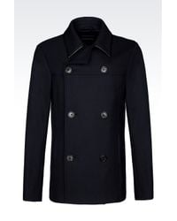 Emporio Armani | Black Double-breasted Pea Coat In Wool With Leather Details for Men | Lyst