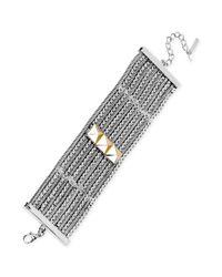 Steve Madden - Metallic Twotone Pyramid Bead Wide Bracelet - Lyst