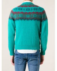 Moncler - Green Snowflake Pattern Sweater for Men - Lyst