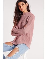 08e316731 Missguided Turtle Neck Boxy Jumper Mauve in Pink - Lyst