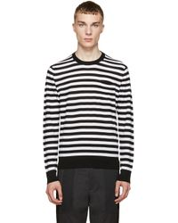 Dolce & Gabbana - Black & White Striped Wool Sweater for Men - Lyst