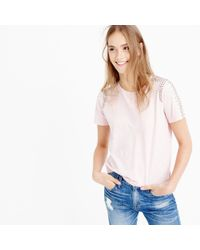 J.Crew | Pink Beaded-shoulder T-shirt | Lyst