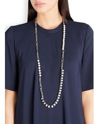 Lanvin | White Faux Pearl Silver Tone Necklace | Lyst