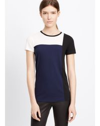 Vince - Blue Tri Colorblock Short Sleeve Tee - Lyst