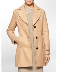 Calvin Klein | Natural White Label Single Breasted Peacoat | Lyst