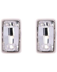 Karen Millen | Metallic Luxe Oblong Crystal Stud Drop Earrings | Lyst