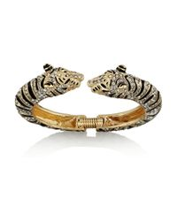 Kenneth Jay Lane | Metallic Goldtone Crystal and Enamel Tiger Bracelet | Lyst
