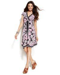 INC International Concepts - Pink Printed Handkerchief-Hem Dress - Lyst