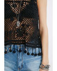 Forever 21 | Black Pom-pom Crochet Tank | Lyst