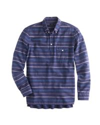 J.Crew | Brushed Twill Popover in Blue Grotto Stripe for Men | Lyst