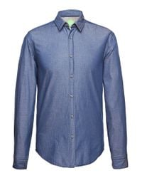 BOSS Green | Blue Regular-fit Casual Shirt: 'c-bodil' With A Fine Texture for Men | Lyst