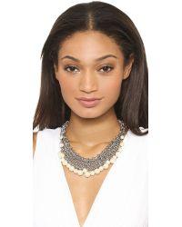 Rebecca Minkoff - Metallic Mesh Statement Necklace - Silver/Pearl - Lyst