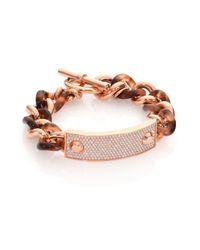 Michael Kors | Metallic Blush Tortoise-print Pavé Plaque Chain Bracelet | Lyst