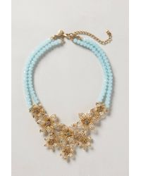 Anthropologie | Blue Gilded Gerbera Bib Necklace | Lyst