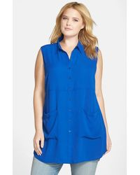 Sejour | Blue Sleeveless Pocket Tunic | Lyst
