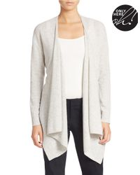 Lord & Taylor - Gray Plus Drape-neck Cashmere Cardigan - Lyst