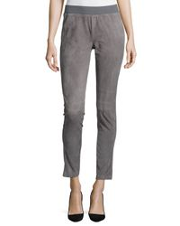 Lafayette 148 New York | Gray Suede-front Knit-back Moto Pants | Lyst