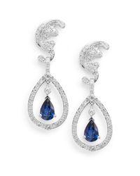 Effy - Blue Diamond, Sapphire & 14k White Gold Drop Earrings - Lyst