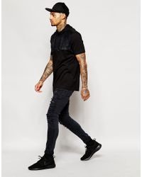 ASOS | Longline T-shirt With Faux Suede Yoke And Hood In Black for Men | Lyst