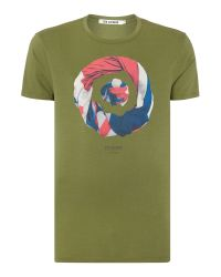 Ben Sherman | Green Union Jack Print Crew Neck Regular Fit T-shirt for Men | Lyst