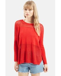 TOPSHOP | Red Panel Sweater | Lyst