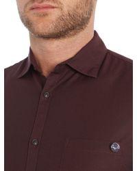 Sisley Men | Purple Pocket Detail Long Sleeve Shirt for Men | Lyst