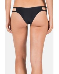 Volcom - Black 'simply Solid' Cutout Side Cheeky Bikini Bottoms - Lyst