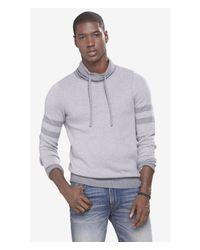 Express | Gray Birdseye Funnel Neck Sweater for Men | Lyst