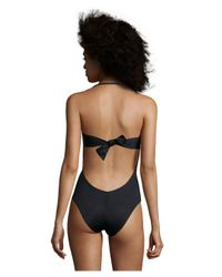 Vitamin A - Red And Black 'amalfi' Crochet Detail One-piece Swimsuit - Lyst