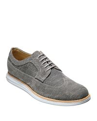 Cole Haan | Gray Lunargrand Canvas Long Wing Oxfords for Men | Lyst