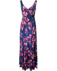 P.A.R.O.S.H. - Blue Flower Print Maxi Dress - Lyst