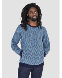 Blue Blue Japan - Jacquard Cotton Fleece Sweat Blue for Men - Lyst