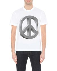 PS by Paul Smith   White Peace-print Cotton T-shirt for Men   Lyst