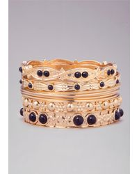 Bebe - Metallic Beaded Bangle Set - Lyst