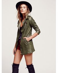 Free People - Green Full Extension Leather Motorcycle Jacket - Lyst