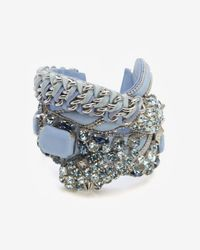 Barbara Bui | Blue Crystal Detail Leather Bracelet | Lyst