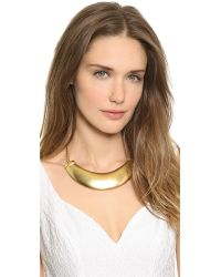 Kenneth Jay Lane - Metallic Plate Necklace Gold - Lyst
